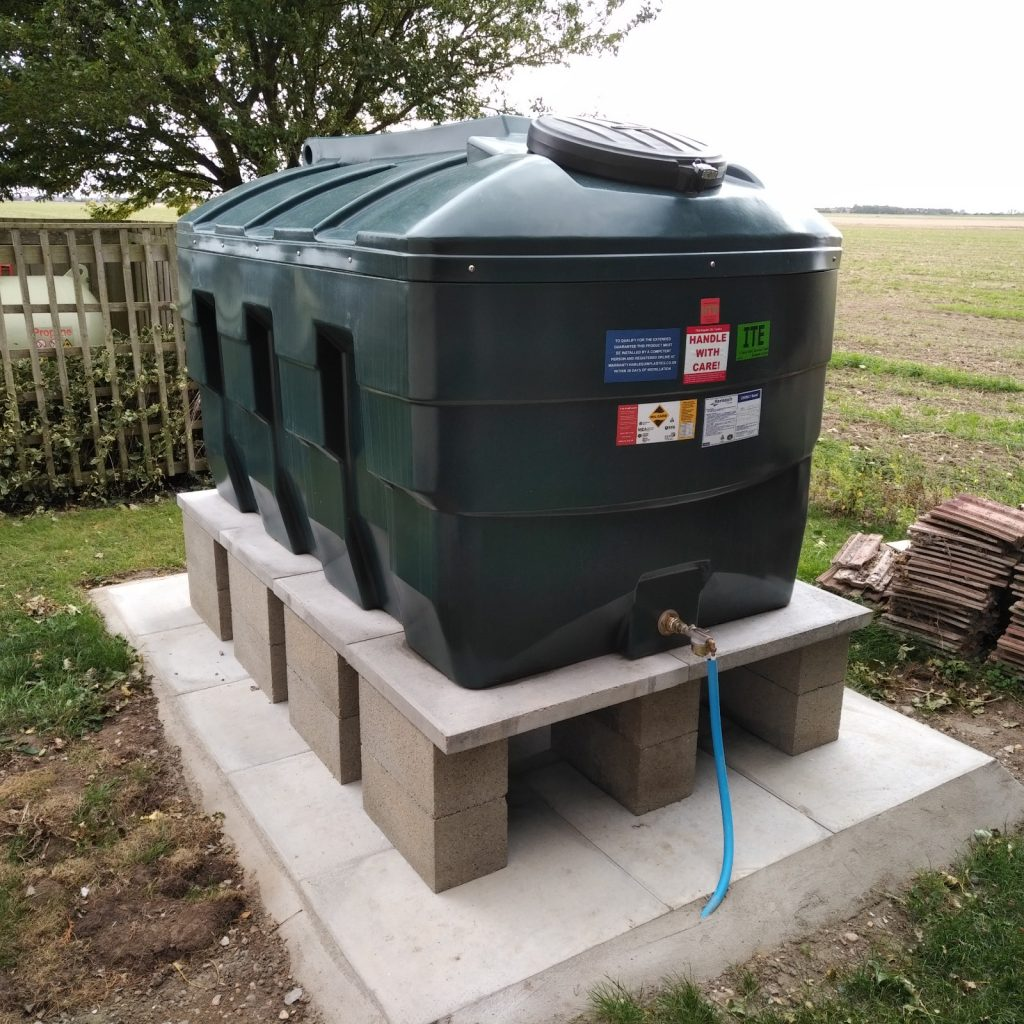 2,500 Litre heating oil tank replacement with all the regulation notices